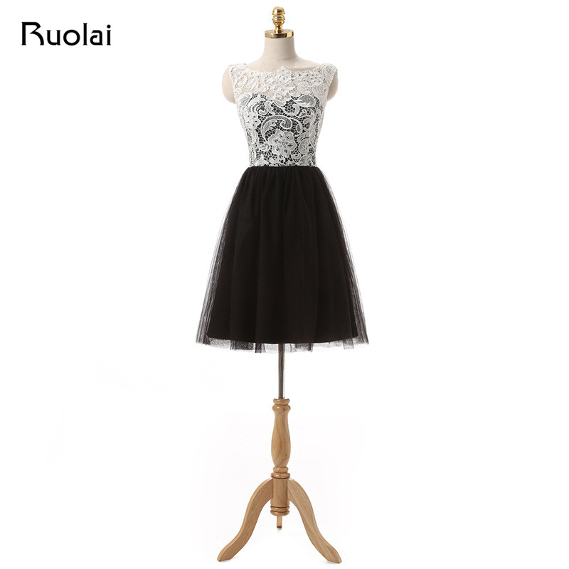 Real Picture Affordable Lace Top A Line Short Evening Dress Tulle Prom Dress Knee length Button Back Vestido de FestaFP07