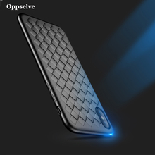 Oppselve Super Soft Case For iPhone X 10 Luxury Grid Weave Cases 8 7 Plus Cover Silicone Capa Phone Accessories Black