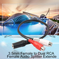Practical Single 3.5mm Female to Dual RCA Female Audio Splitter Extender Splitter Cable Adapter Connectors
