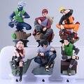 6 unids/set Naruto Kakashi//Sasuke Gaara/Sakura 6 cm-8 cm Ajedrez PVC Figuras de Animación Japonesa juguetes