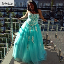 3cde73e47 Brinkina Belle robe de Bal Sans Bretelles Robes de Quinceanera Aqua Robe  Tulle Blanc Dentelle 15 Filles robe de fête grande tail.