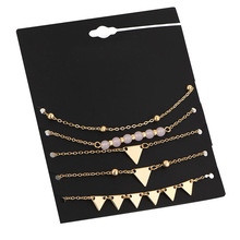 5pcs/set Anklet Set Bracelet for Women Gold Color Triangle Anchor On The Leg Hand Heart Foot Ankle Jewelry