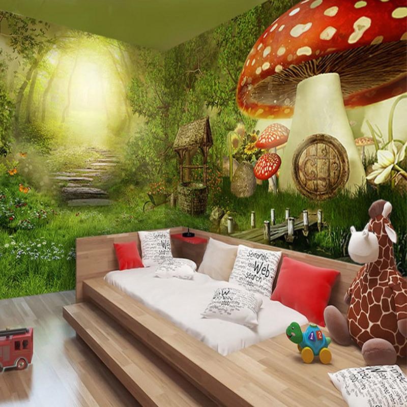 US $9.68 50% OFF|3D fototapete Kindergarten wandbild spielplatz KTV 3D  cartoon wald pilz haus Tier Tapete kinderzimmer wandbild-in Tapeten aus ...