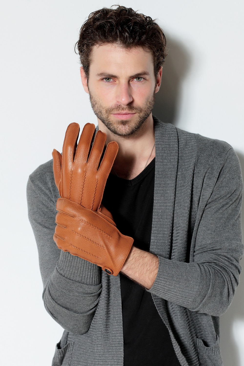 Driving gloves wholesale - Luxury Men S Touchscreen Texting Winter Deerskin Dress Driving Gloves Cashmere Wool Fleece Lining