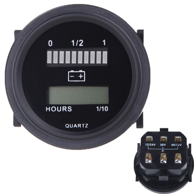 Likebuying DC 12V/24V/36V/48V/72V LED Digital Battery Status Charge Indicator with Hour Meter Gauge Gauge Meter for Car Truck Bo