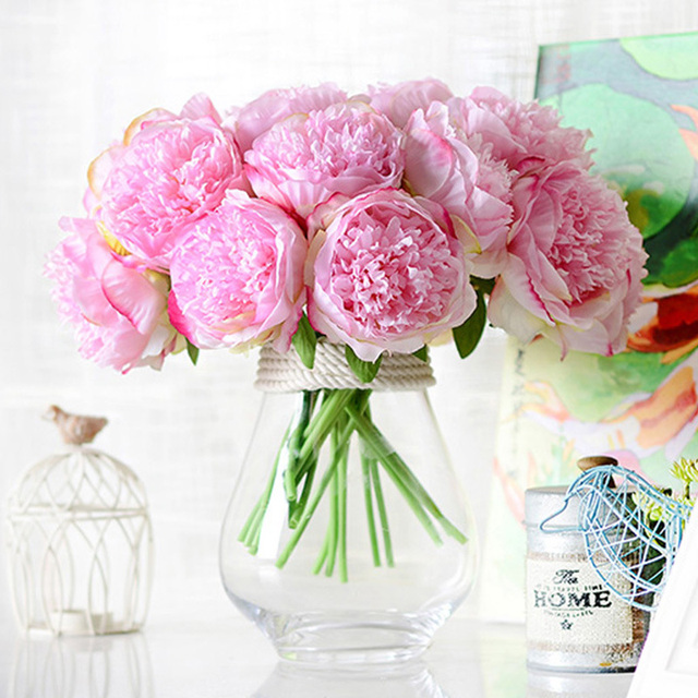 5 head Artificial flowers for wedding really touch Silk flower ...