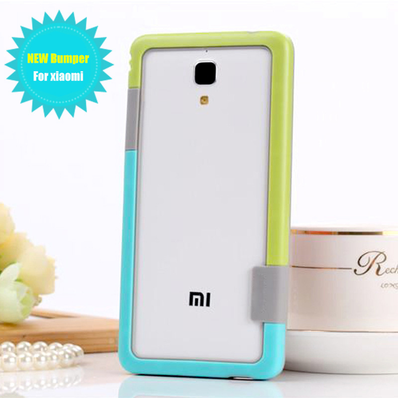 TPU case bumper for xiaomi mi4 case Silicone Anti-Knock frame two-color border Soft Skin Protection frame cover for xiaomi mi4