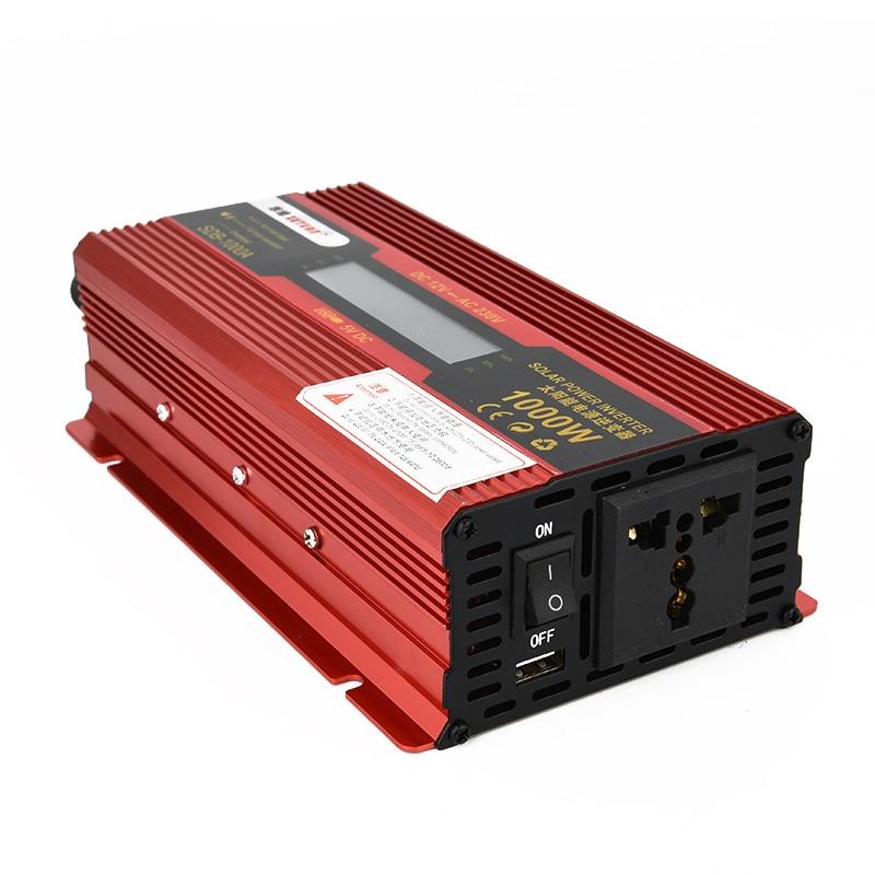 1000W Car Automotive Power Converter Solar Power Inverter DC 12V to AC 220V Aluminum Alloy Case LED Display DC AC Voltag XNC