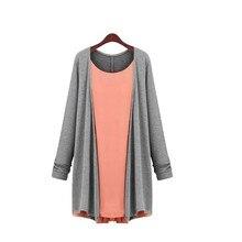 XL-4XL Plus size women spring Casual pleated cardigan women Fashion Patchwork knitwear knitted chiffon top long sleeve  O-neck цены