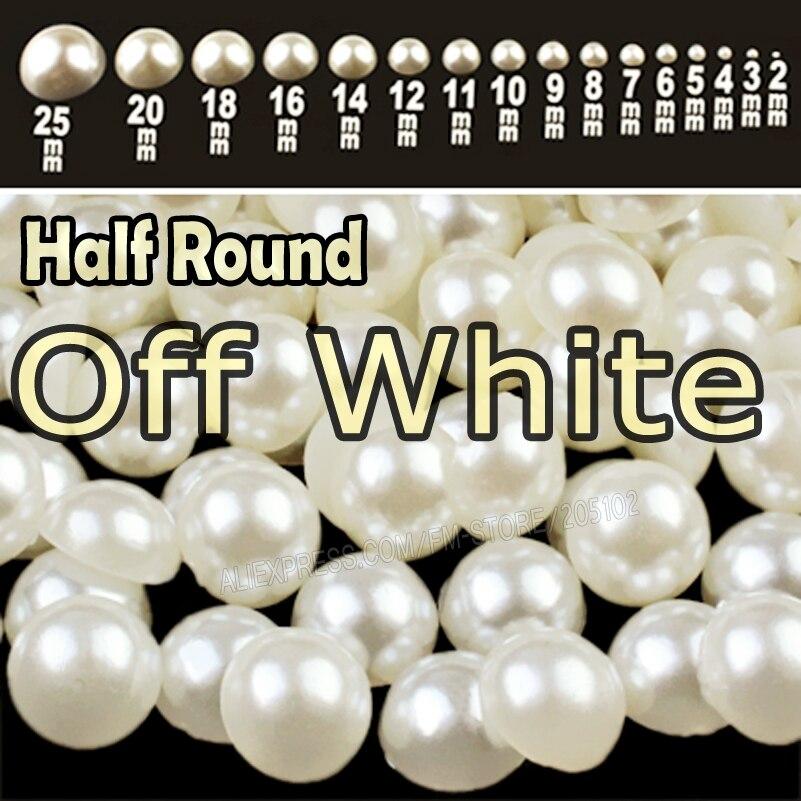 Белый бежевый полукруглый плоский задний жемчуг смешанные размеры 2 3 4 5 6 8 10 12 mm-25mm все ABS имитация модные бусины для DIY nail art