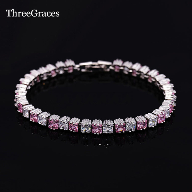Threegraces Luxurious Cz Jewelry Square Light Pink Cubic Zirconia Tennis Bracelets Bangles Love Gift For Women