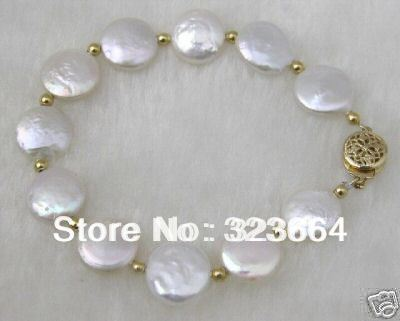 Hot Sell ! Pretty White coin 10mm pearls bracelets 7''