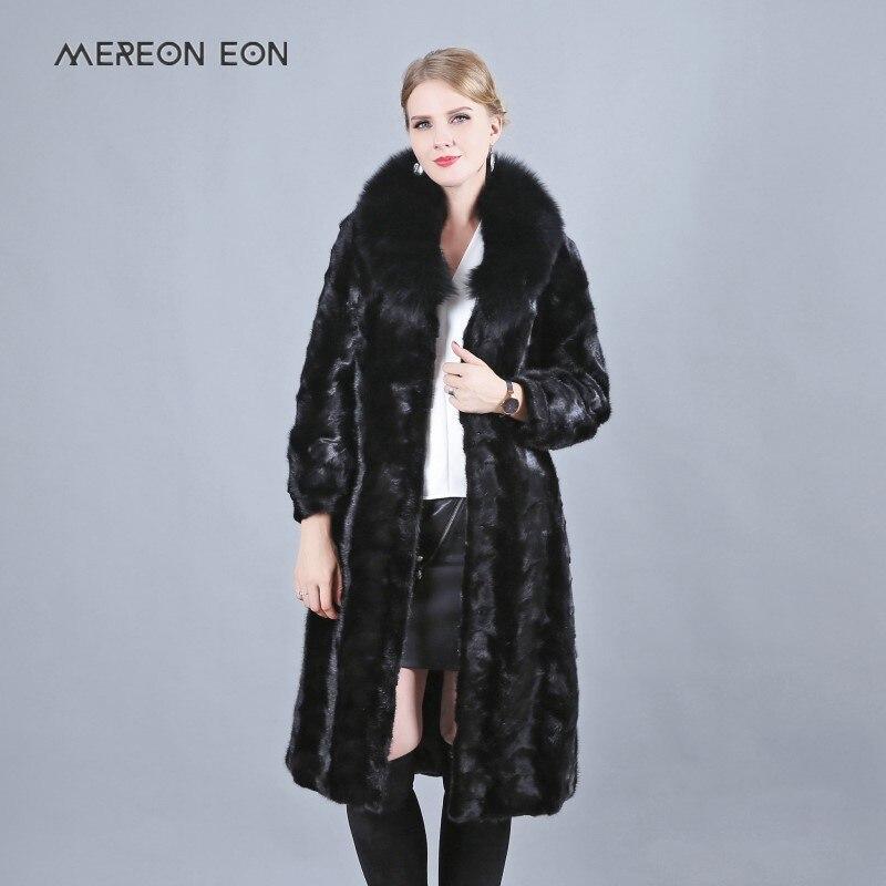 2018 nouvelle mode naturel fox de fourrure veste avec Col V qualité vison manteau dames manteau d'hiver longue section de noir en cuir manteau renard