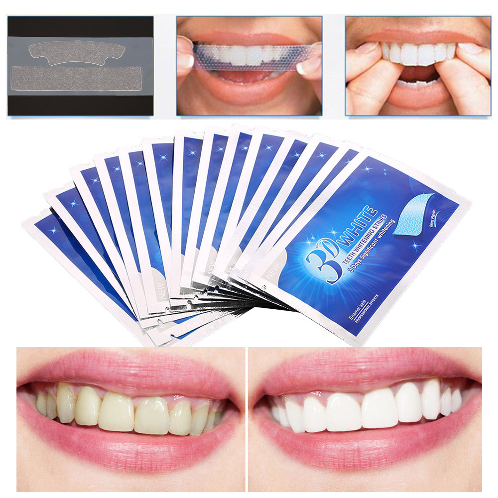 14 Pairs Teeth Whitening Strips 3D Oral Hygiene White Gel Dental Veneers Teeth Whitening Kit