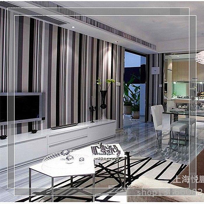 2015 neue moderne einfache schwarz wei und grau streifen tapete fr wohnzimmer schlafzimmer grohandel vliestapete rollen - Wohnzimmer Mit Streifen Schwarz Wei Grau
