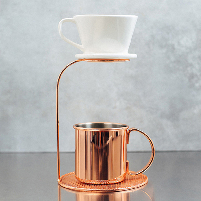 Rose Gold Pour-over Coffee Filter Rack Tea Leaves Filter Holder 2 Sizes Stand Racks Dripper Coffee Filter Cup Stander title=