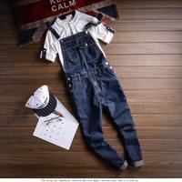 2019 New Vintage Mens Jumpsuit Denim Bib Overalls Jeans Men Slim Fit Jumpsuit Denim Mens Casual Suspender Trouser