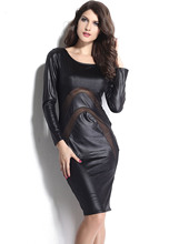 New 2016 Long-Sleeve Leather Dress with Mesh Details Sexy Party Bodycon Women's Clubwear Midi Dress LC9202