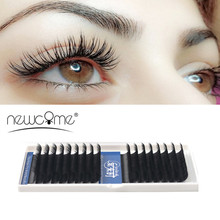 NEWCOME 16 Lines Individual Eyelashes Extensions 0.03mm to 0.25mm Thickness BCD All Size Silk Mink 3D False Eye Lashes Cilios