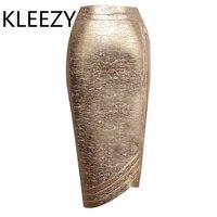 2017 new women sexy skirts knee length bandage skirt Oblique cut glod celebrity bodycon skirt 60CM H2377