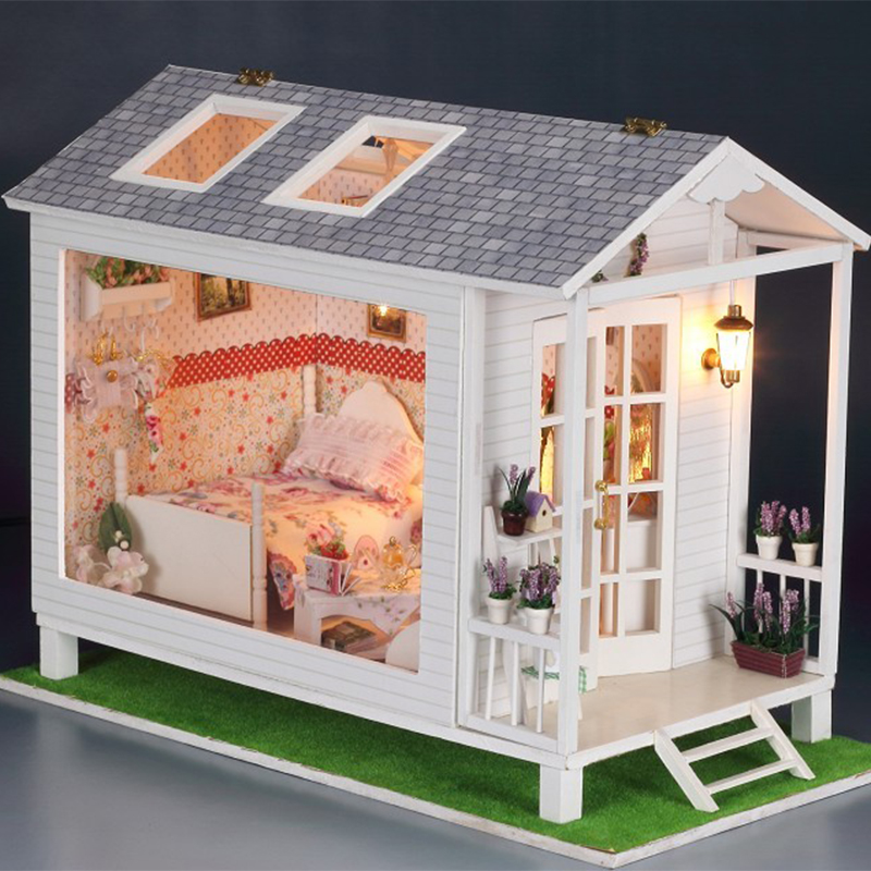 Diy Miniature Wooden Doll House Furniture Kits Toys Handmade Craft Miniature Model Kit DollHouse Toys Gift For Children 13817 wooden handmade dollhouse miniature diy kit caravan