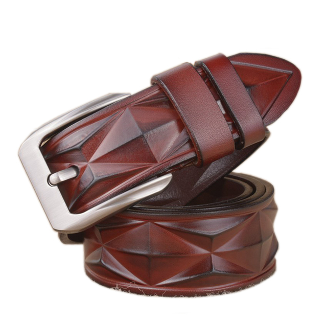 New Design Fashion Genuine Leather Belt For Men Luxury Belt  Stereoscopic Rhombic Leather Strap Men Waistband Girdle