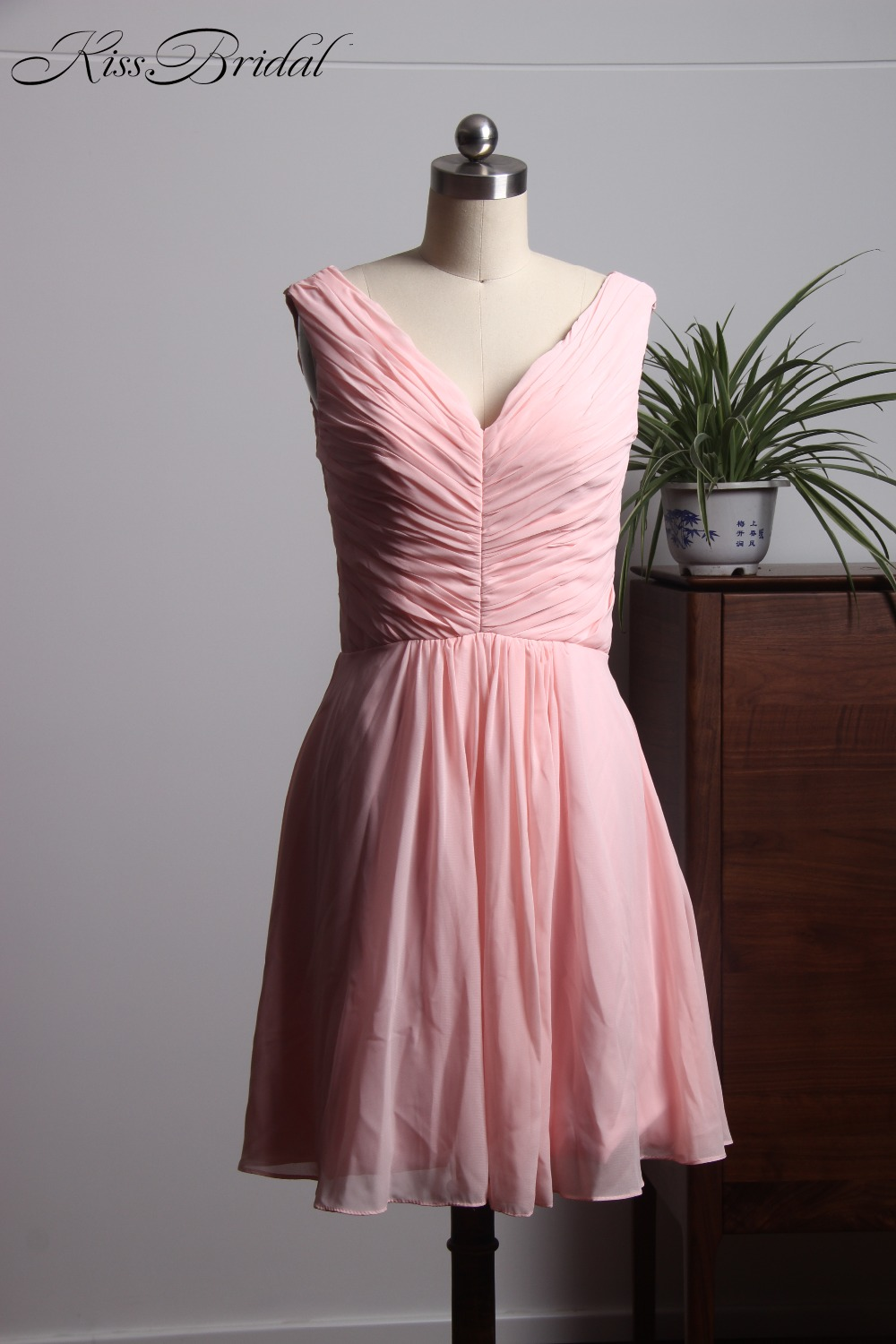 New Elegant Pink   Bridesmaid     Dresses   Short Zipper Back Cheap   Dress   Brides Maid robe demoiselle d'honneur