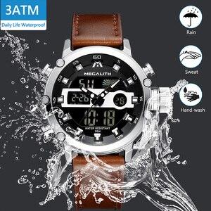 Image 4 - MEGALITH גברים ספורט שעון זוהר עמיד למים קוורץ שעון גברים משולב הכרונוגרף שעון יד Dropshipping סיטונאי מחיר