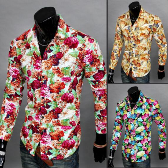 Full Flowers Men Long Sleeves Shirts Florals Prints Single Breasted Casual Male Shirts Yellow Red Groom Wedding Shirts M XXL