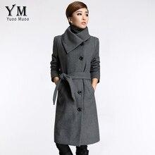 YuooMuoo New Long Jackets Women Grey Wool Coat High Quality Plus Size Poncho Fashion Women's Cashmere Coat with Belt Female Coat