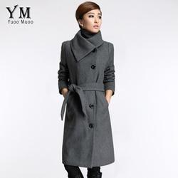 к 2015 году новые длинные куртки женщины шерсти пальто высокого качества и размера 3xl пончо моды слим женщин кашемировое пальто с поясом женского пальто