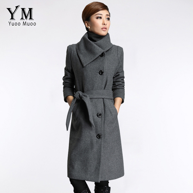 YuooMuoo New Long Jackets Women Grey Wool Coat High Quality Plus ...