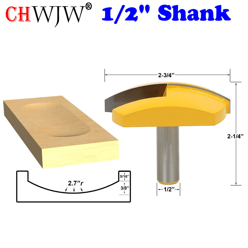 1pc 1/2 Shank Large Bowl Router Bit - 2.7 Radius - 2-3/4 Wide For Woodworking Cutting Tool - Chwjw 16172 1pc 1 4 shank high quality roman ogee edging and molding router bit wood cutting tool woodworking router bits chwjw 13180q