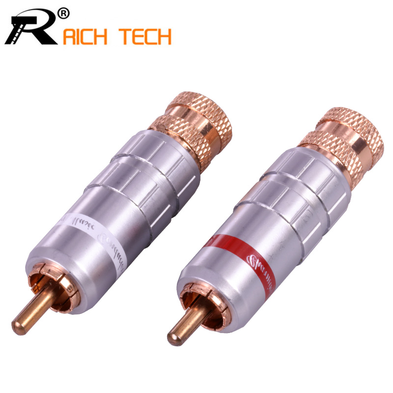1pair/2pcs 2018 New Arrival Connector RCA male Plug gold plating audio adapter white&red pigtail speaker plug for 9MM Cable 10pcs rca female connector socket adapter plug for 3 5mm audio plug av plug gold red black panel connector for amplifier speaker