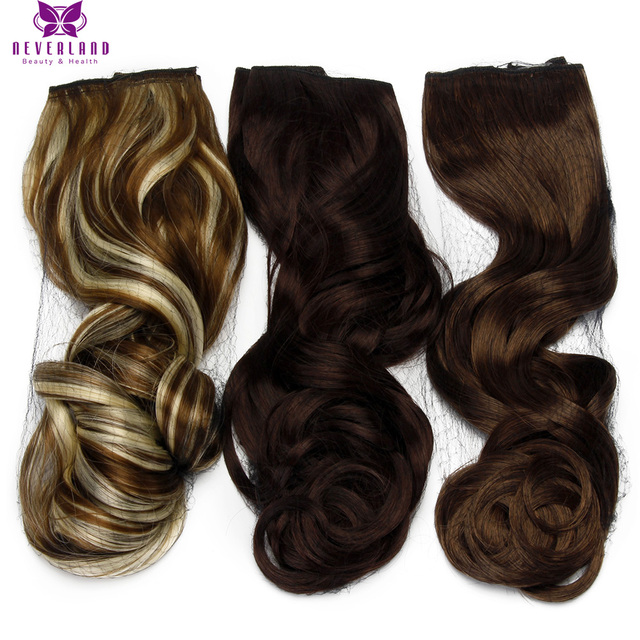 """Neverland 22"""" 55cm 5 Clips One Piece Mix Color Sythetic Hairpieces Wavy Heat Resistant Clip In On Hair Extensions for women"""