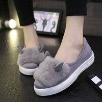 Women Girls Slip On Shoes Platform Flats Fur Shoes Female Casual Lady Cute Rabbit Ears Loafer