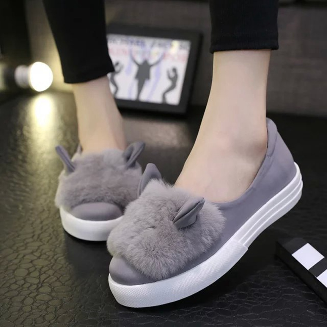 women girls slip on shoes platform flats Fur shoes female casual lady cute Rabbit ears loafer