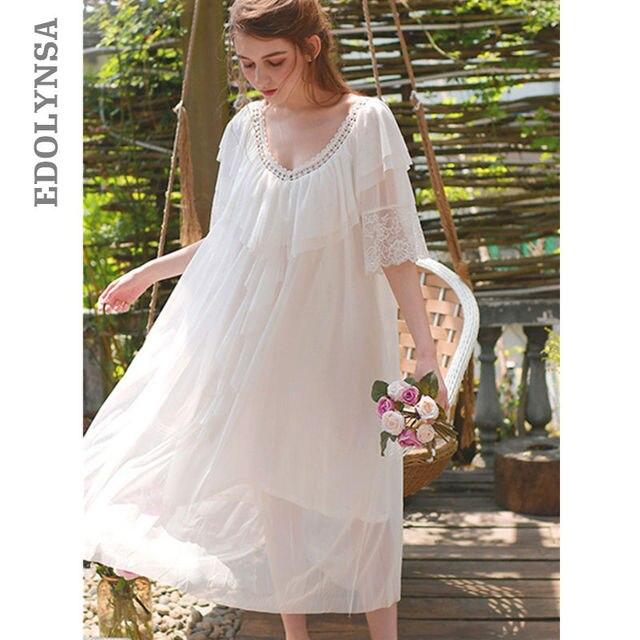 Fancy Sleepwear Women Short Sleeve White Lace Gown Babydoll Dress Sexy  Negligee Plus Size Nightgown Loungewear Sleep Robe T172 4e02a8e3f0
