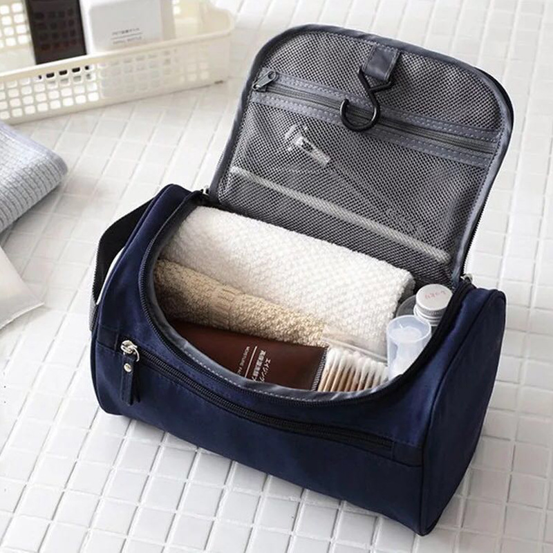 Men Travel Cosmetic Bag Functional Hanging Zipper Makeup Case Necessaries Organizer Storage Pouch Toiletry Make Up Wash Bag