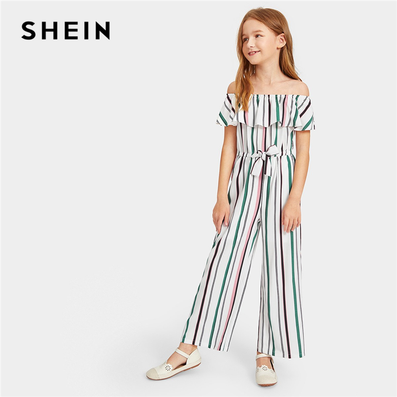 SHEIN Kiddie Off The Shoulder Flounce Layered Boho Girls Jumpsuit 2019 Spring Short Sleeve Drawstring Waist Casual Kids Jumpsuit green fashion off shoulder hollow knee jumpsuit