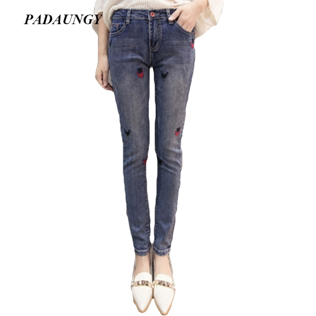 08453be8b0e0 PADAUNGY Embroidery Women Jeans Skinny Pencil Pants High Waist Jegging Plus  Size Denim Trousers Jean Femme Pantalon Taille Haute