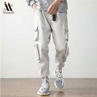 2019New Men's Side Pockets Cargo Harem Pants  Hip Hop Casual Male  Joggers Trousers Fashion Casual Streetwear Pants 3XL