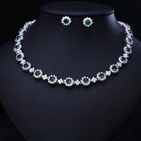 Green Clear Zirconia   Set   AAA Cubic Zircon   Jewelry     Sets   ,Earrings /Necklace,Promotion,Nickel Free,Factory price