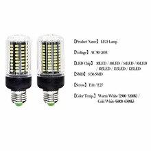 E27 LED Lamp E14 Bulb Lampada SMD5730 220V Corn Bulb Bombillas 24 36 48 56 69 72LEDs Chandelier Candle Light For Home Decoration