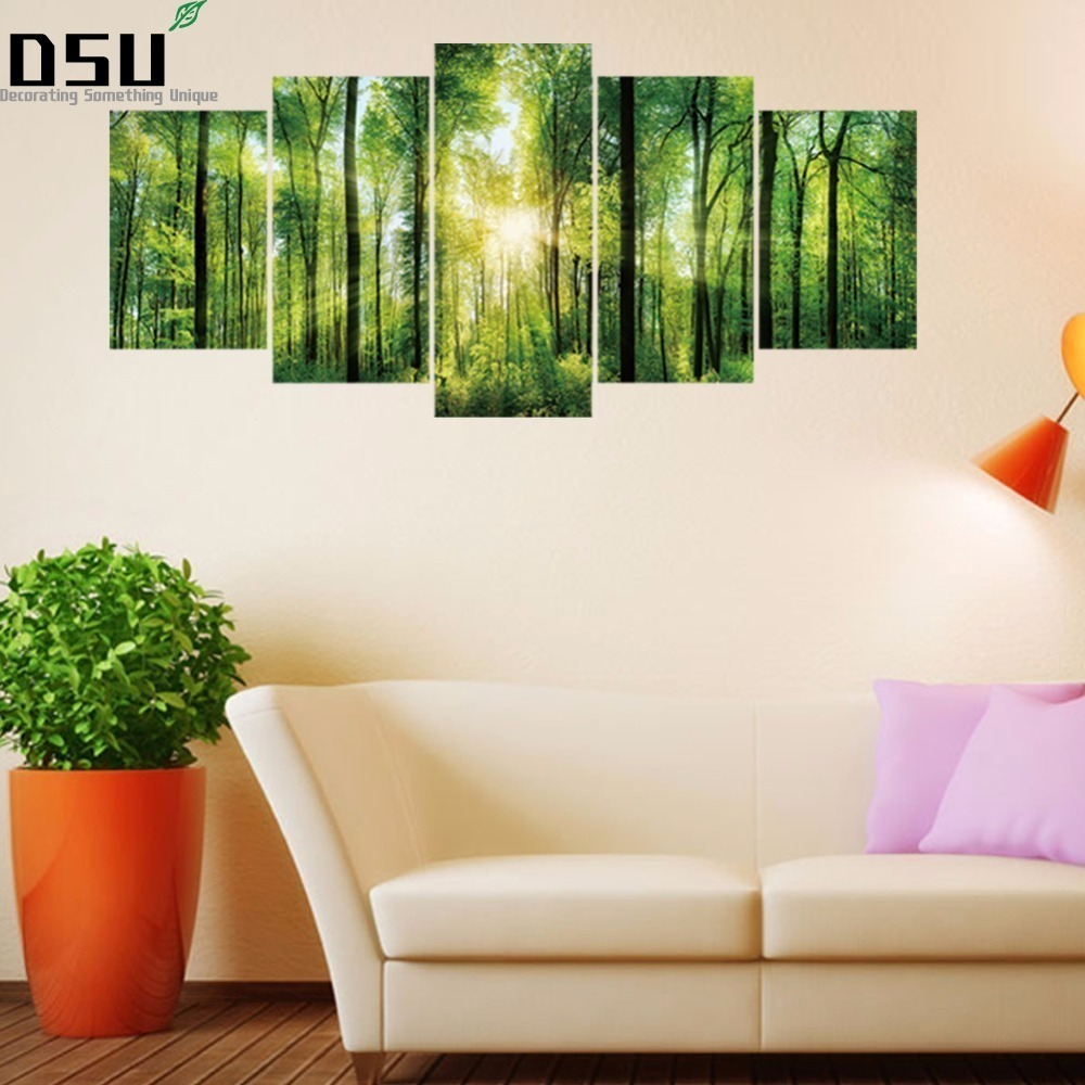 3D DIY 5pcs/set Virgin Forest Combination Wall Stickers Home Decor Bedroom Landscape Poster Self-adhesive Tree Art Mural Decals