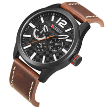 CURREN Black Quartz Men Quartz Sport Wrist Watch Military Unique Lattice Design Brown Leather Waterproof Male Clock Montre Homme цены