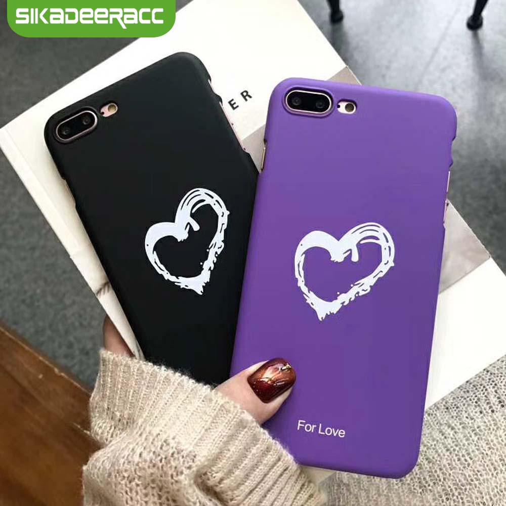Heart Phone Cases For iPhone 7 Plus Case PC Hard Shockproof Brand Simple Case For iPhone 6 6s Plus 8 Plus X Accessories SG60