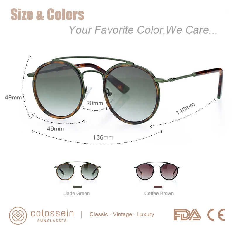 b46c089e5c ... COLOSSEIN Sunglasses Women Men Retro Fashion Round Glasses UV400 Metal Acetate  Frame Eyewear lentes gafas de ...