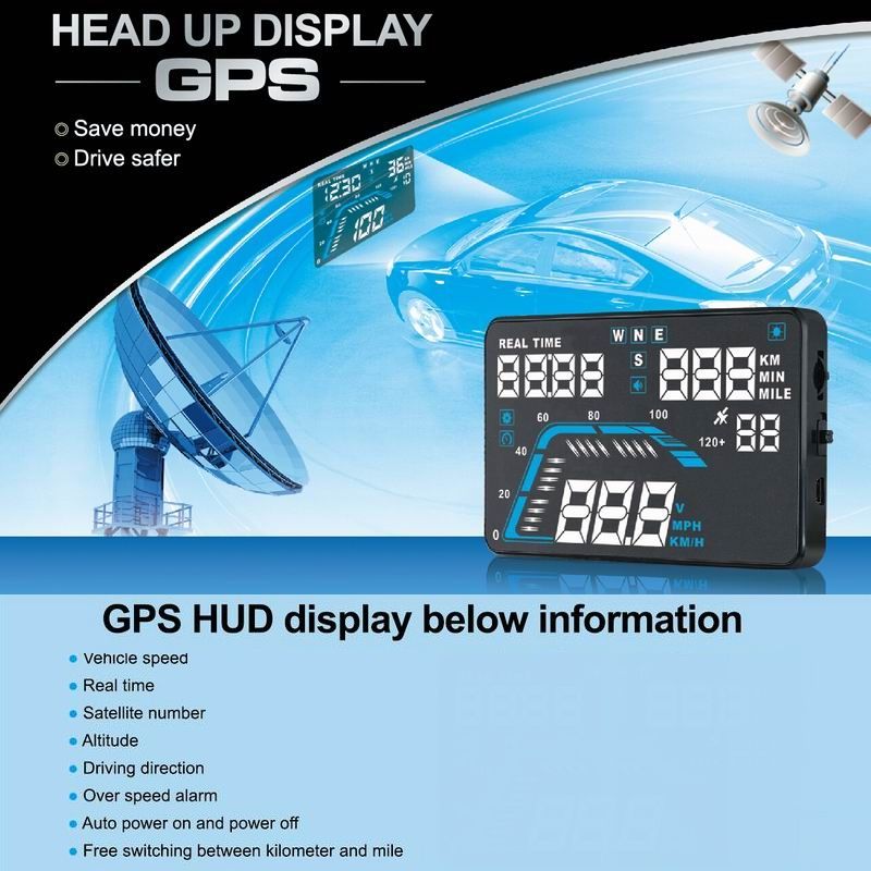 ФОТО NEW 5.5'' Multi-color Design Screen Display Car HUD Compass GPS Head Up Display Security System Vehicle Over Speed Alarm