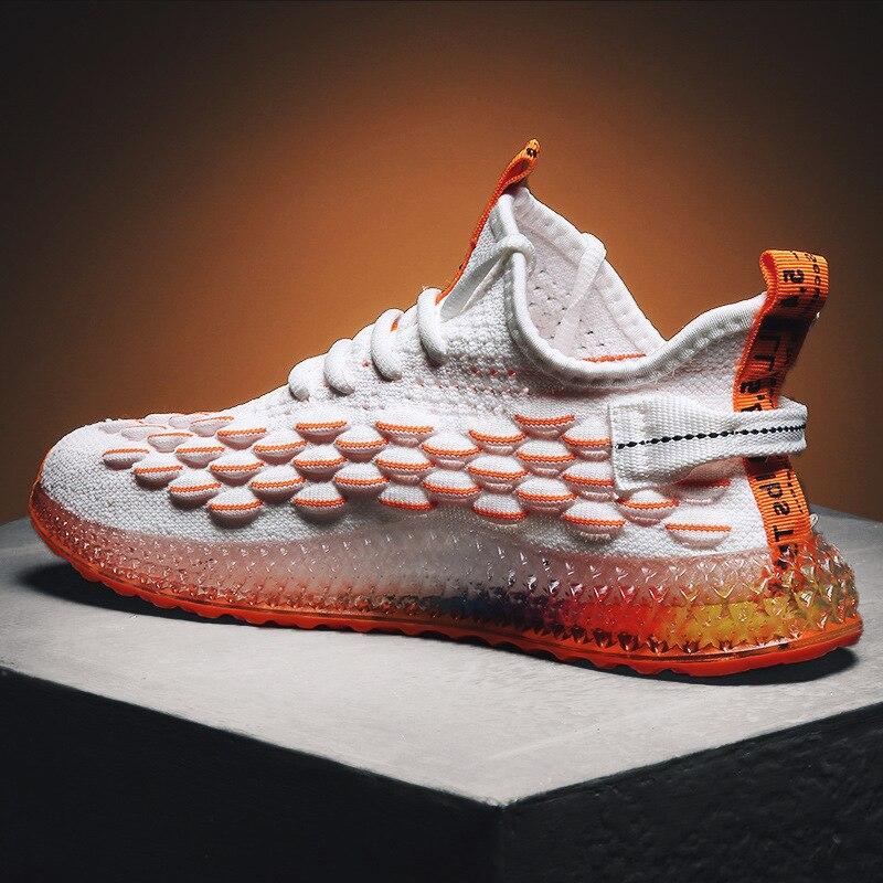 4D pai Dos Homens de impressão Moda Casual Sneakers Voando Tecelagem de Malha Respirável Homens Sapatos Ao Ar Livre Zapatillas Hombre tenis Calçado